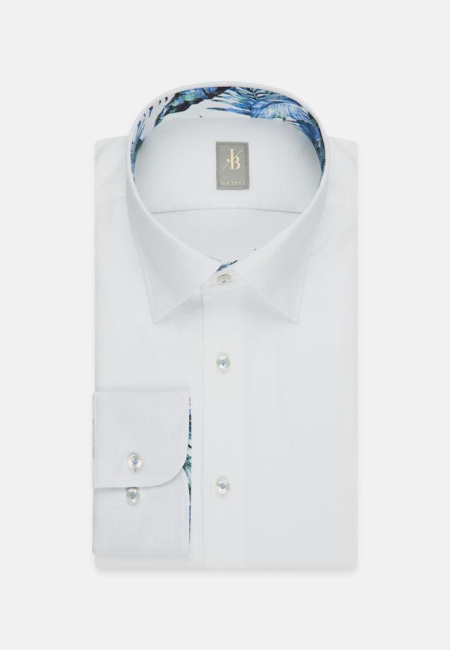 Struktur Business Hemd in Custom Fit mit Under-Button-Down-Kragen in Weiß    Jacques Britt Onlineshop