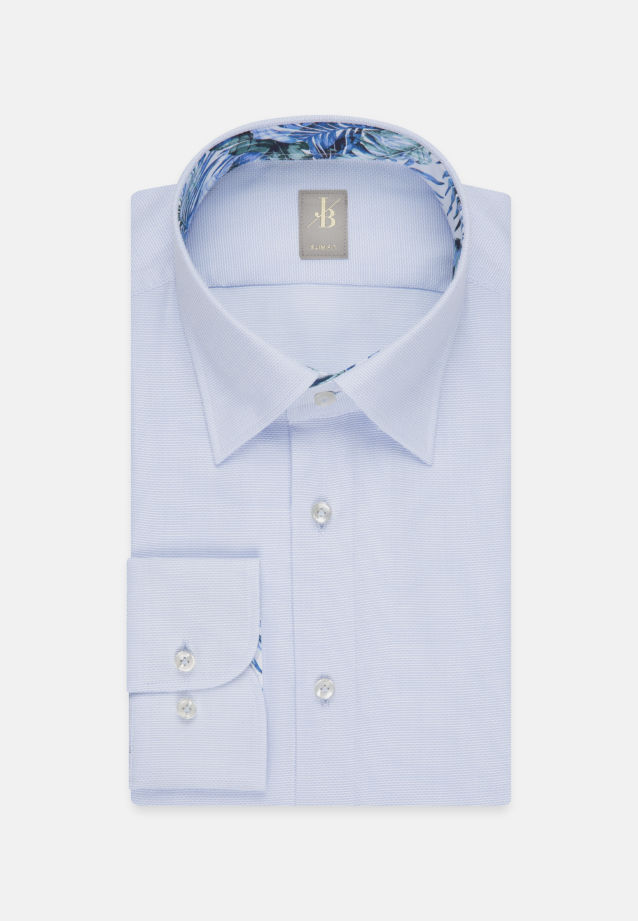 Struktur Business Hemd in Slim Fit mit Under-Button-Down-Kragen in Mittelblau |  Jacques Britt Onlineshop
