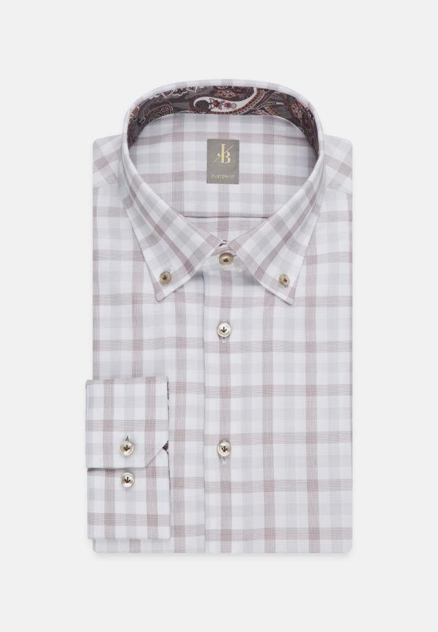 Oxford Business Hemd in Custom Fit mit Button-Down-Kragen in Braun |  Jacques Britt Onlineshop