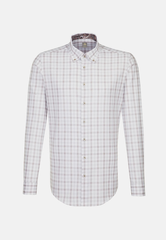 Oxford Business Hemd in Custom Fit mit Button-Down-Kragen in Braun |  Jacques Britt Onlineshop