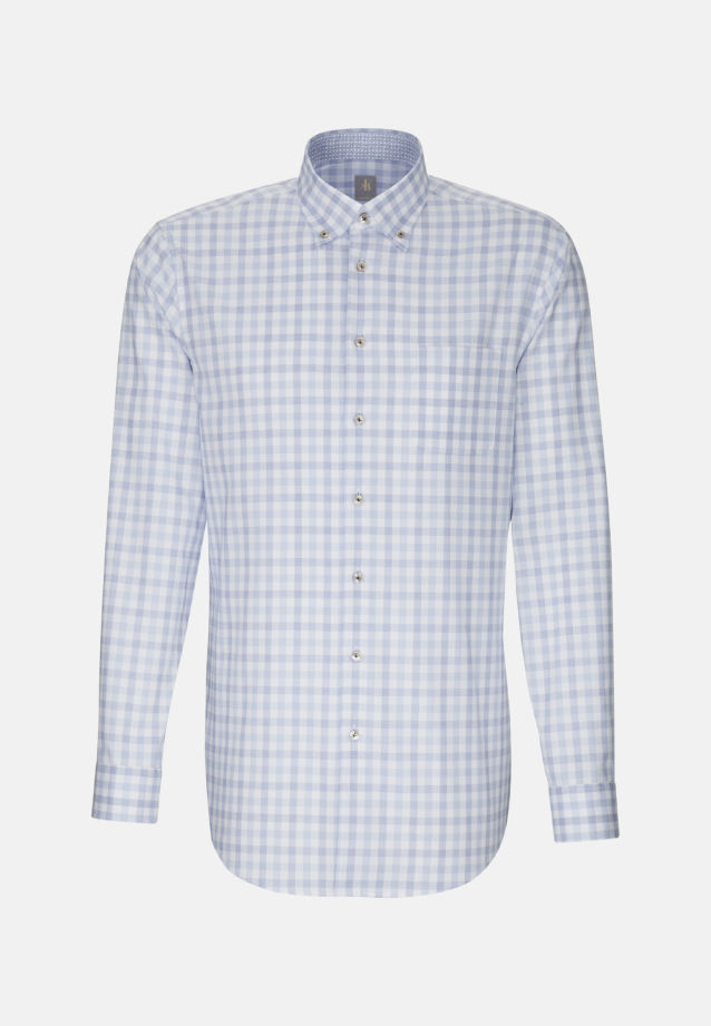Oxford Business Hemd in Custom Fit mit Button-Down-Kragen in Mittelblau |  Jacques Britt Onlineshop