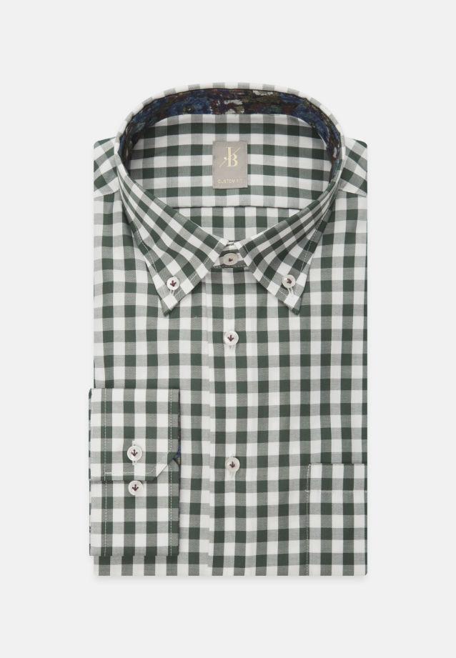 Twill Business Hemd in Custom Fit mit Button-Down-Kragen in Grün    Jacques Britt Onlineshop