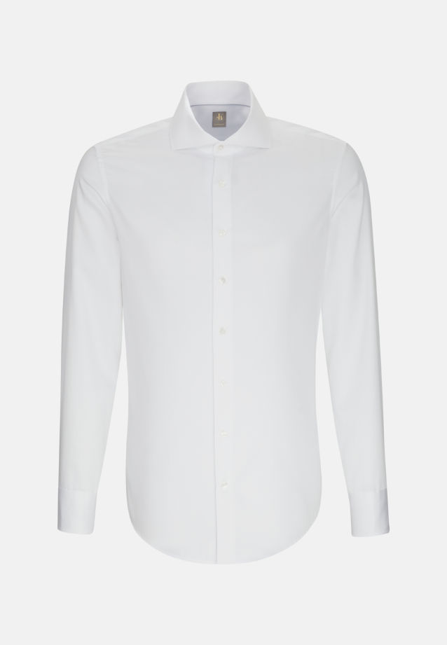 Satin Business Hemd in Custom Fit mit Haifischkragen in Weiß |  Jacques Britt Onlineshop