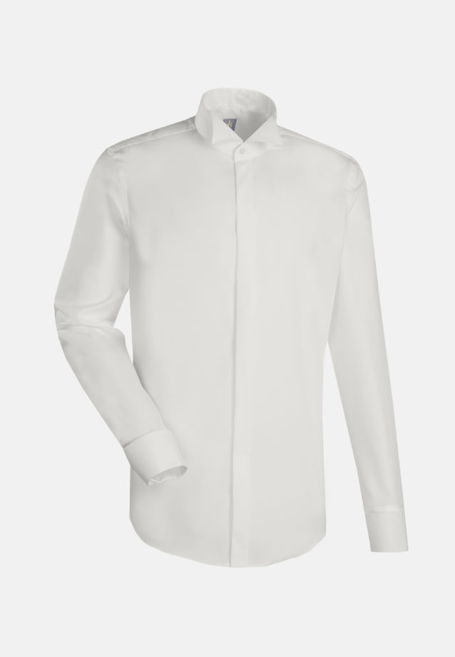 Popeline Smokinghemd in Slim Fit mit Kläppchenkragen in Ecru |  Jacques Britt Onlineshop