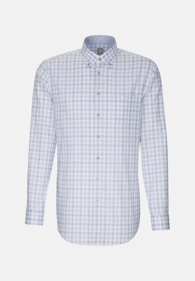 Oxford Business Hemd in Custom Fit mit Button-Down-Kragen und extra langem Arm in Mittelblau |  Jacques Britt Onlineshop