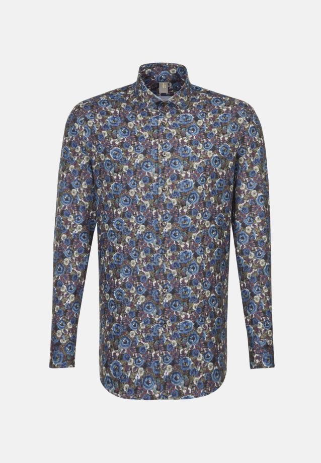 Flanell Business Hemd in Slim Fit mit Haifischkragen in Mittelblau    Jacques Britt Onlineshop