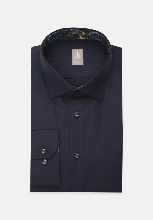 Twill Business Hemd in Slim Fit mit Kentkragen und extra langem Arm in Dunkelblau    Jacques Britt Onlineshop
