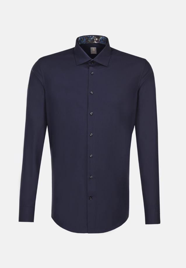 Twill Business Hemd in Slim Fit mit Kentkragen und extra langem Arm in Dunkelblau |  Jacques Britt Onlineshop