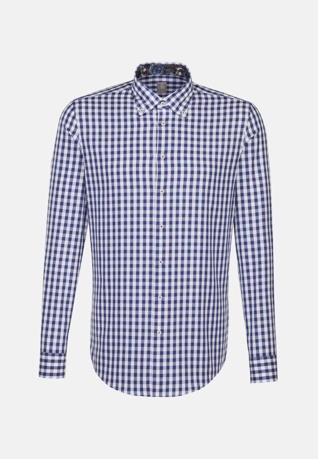 Twill Business Hemd in Slim Fit mit Button-Down-Kragen in Mittelblau |  Jacques Britt Onlineshop