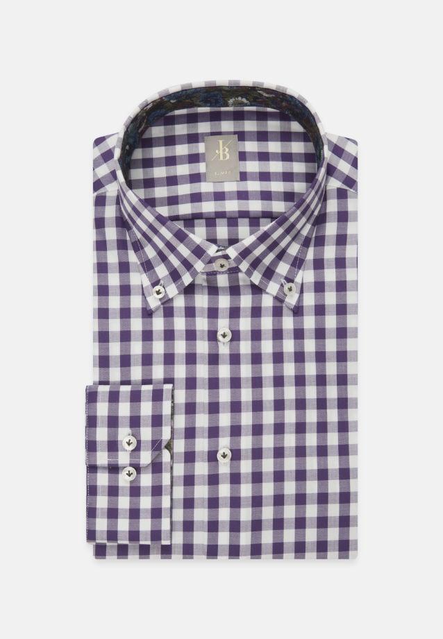 Twill Business Hemd in Slim Fit mit Button-Down-Kragen in Lila |  Jacques Britt Onlineshop