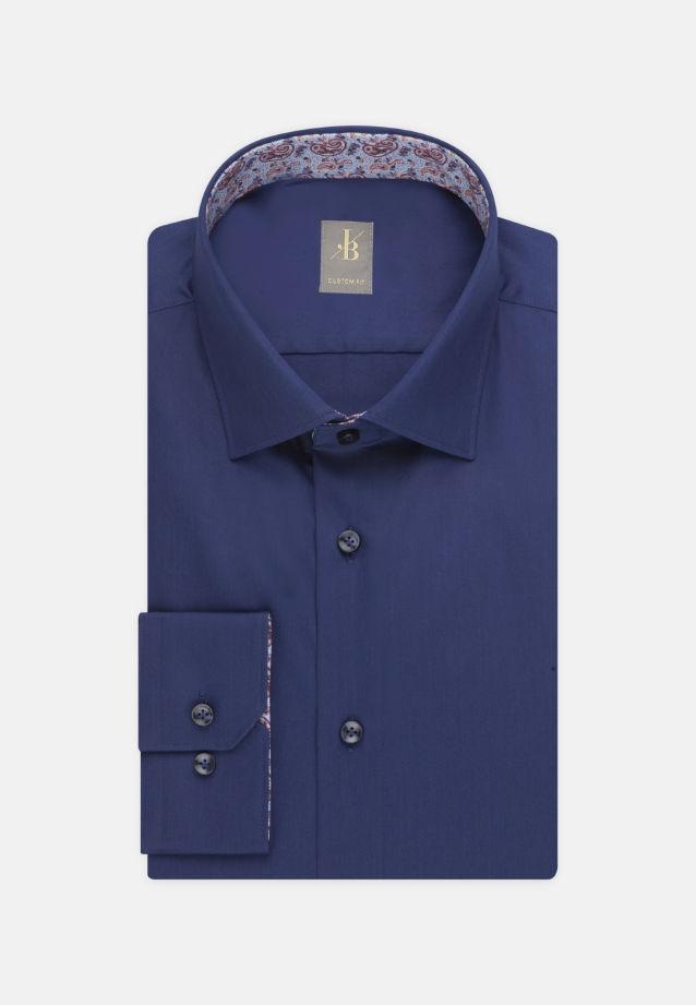 Satin Business Hemd in Custom Fit mit Kentkragen in Dunkelblau |  Jacques Britt Onlineshop