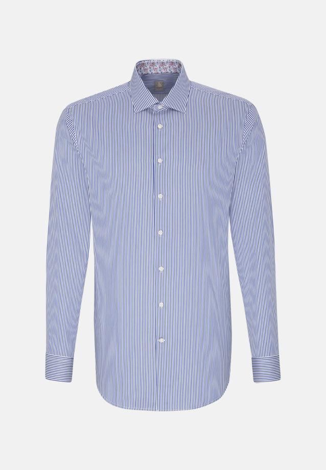 Satin Business Hemd in Custom Fit mit Kentkragen in Mittelblau |  Jacques Britt Onlineshop