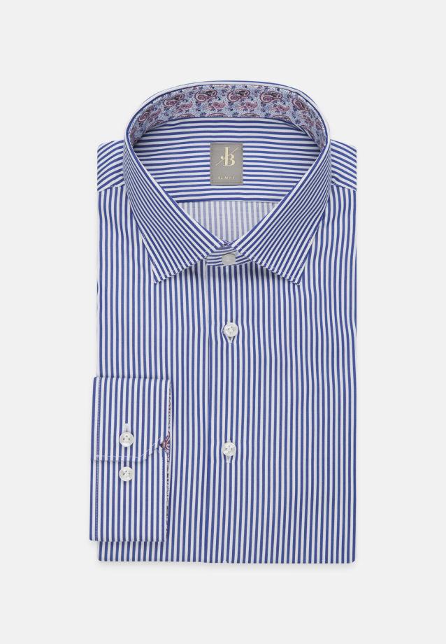 Satin Business Hemd in Slim Fit mit Kentkragen in Mittelblau |  Jacques Britt Onlineshop