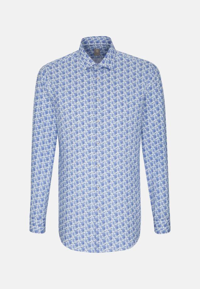 Satin Business Hemd in Custom Fit mit Kentkragen in Mittelblau    Jacques Britt Onlineshop