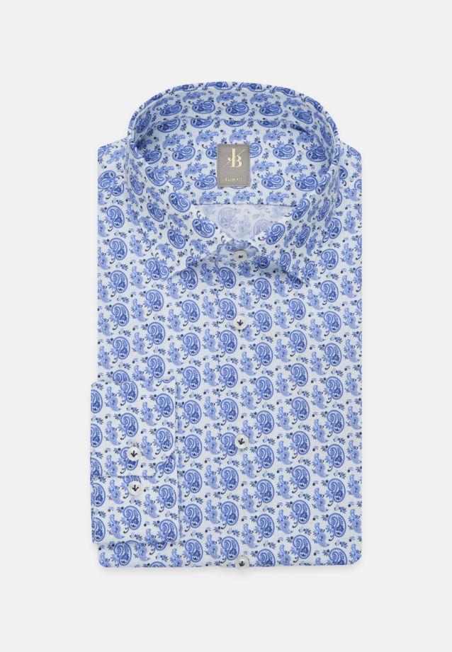 Satin Business Hemd in Slim Fit mit Kentkragen in Mittelblau    Jacques Britt Onlineshop