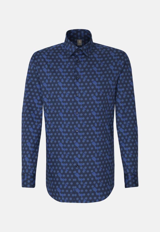 Satin Business Hemd in Custom Fit mit Under-Button-Down-Kragen in Mittelblau |  Jacques Britt Onlineshop