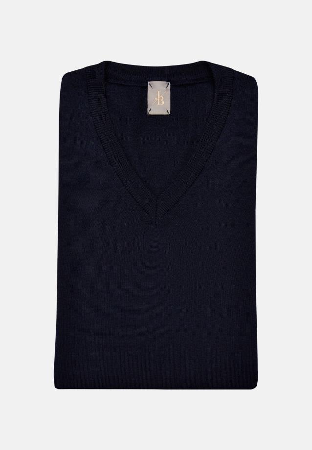 V-Neck Pullover aus 100% Merinowolle in Dunkelblau    Jacques Britt Onlineshop