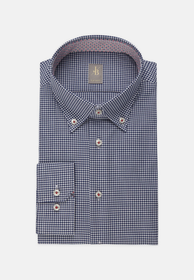 Twill Business Hemd in Custom Fit mit Button-Down-Kragen in Dunkelblau |  Jacques Britt Onlineshop