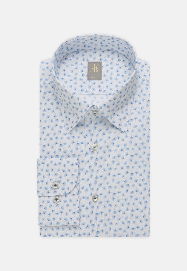 Popeline Business Hemd in Slim Fit mit Under-Button-Down-Kragen in Hellblau |  Jacques Britt Onlineshop