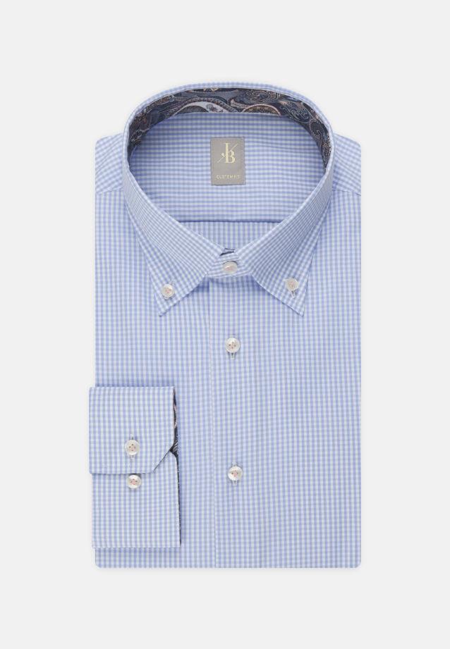 Popeline Business Hemd in Custom Fit mit Button-Down-Kragen in Hellblau |  Jacques Britt Onlineshop