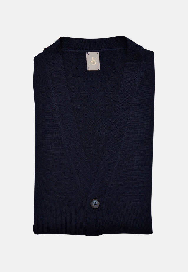V-Neck Cardigan aus 100% Merino-Wolle in Dunkelblau |  Jacques Britt Onlineshop