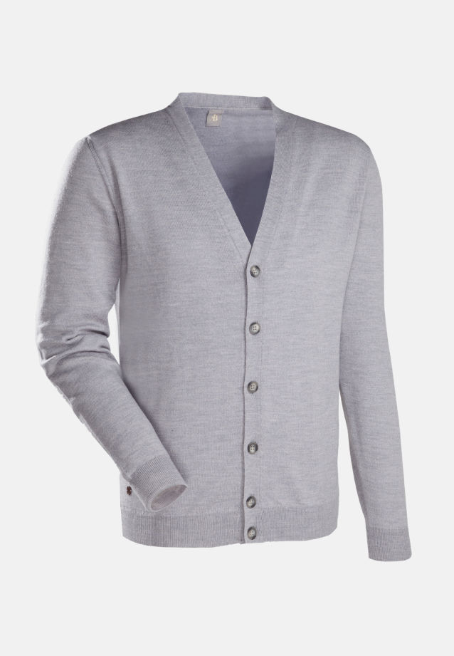V-Neck Cardigan aus 100% Merino-Wolle in Grau |  Jacques Britt Onlineshop