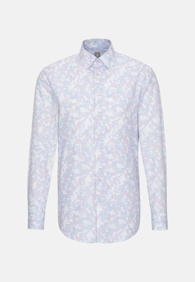 Popeline Business Hemd in Custom Fit mit Under-Button-Down-Kragen in Mittelblau    Jacques Britt Onlineshop