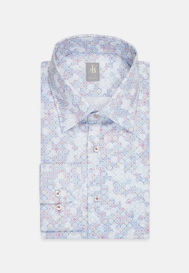 Popeline Business Hemd in Slim Fit mit Under-Button-Down-Kragen in Mittelblau    Jacques Britt Onlineshop