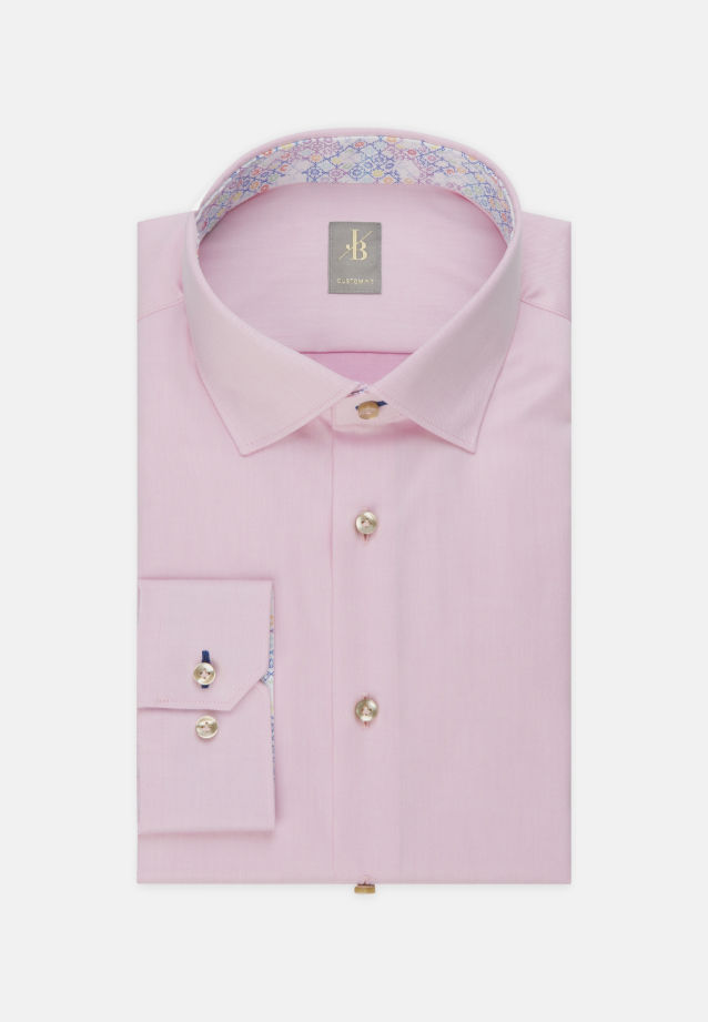 Twill Business Hemd in Custom Fit mit Kentkragen in Rosa/Pink |  Jacques Britt Onlineshop