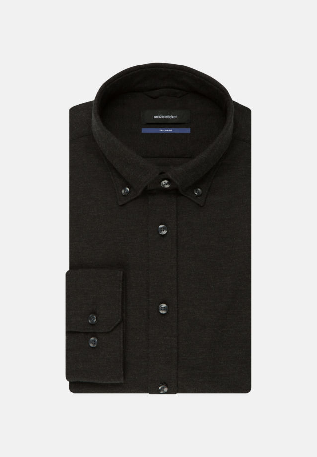 Bügelleichtes Twill Business Hemd in Shaped mit Button-Down-Kragen in Schwarz |  Seidensticker Onlineshop