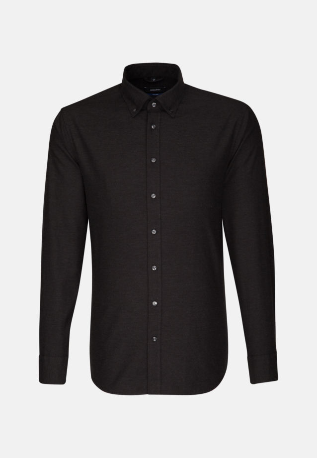 Easy-iron Twill Business Shirt in Shaped with Button-Down-Collar in Black |  Seidensticker Onlineshop