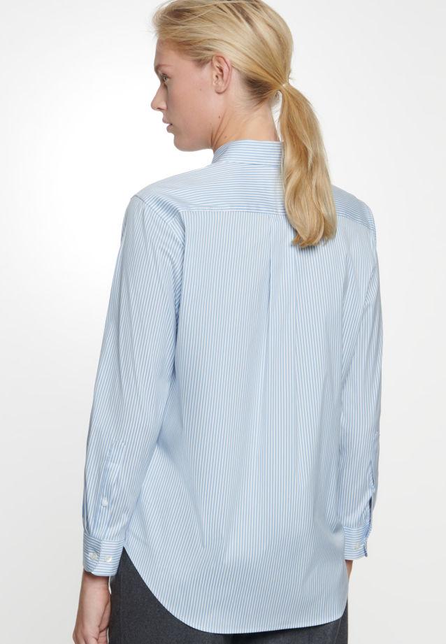 Popeline Hemdbluse aus 81% Baumwolle 16% Polyamid/Nylon 3% Elastan in Mittelblau    Seidensticker Onlineshop