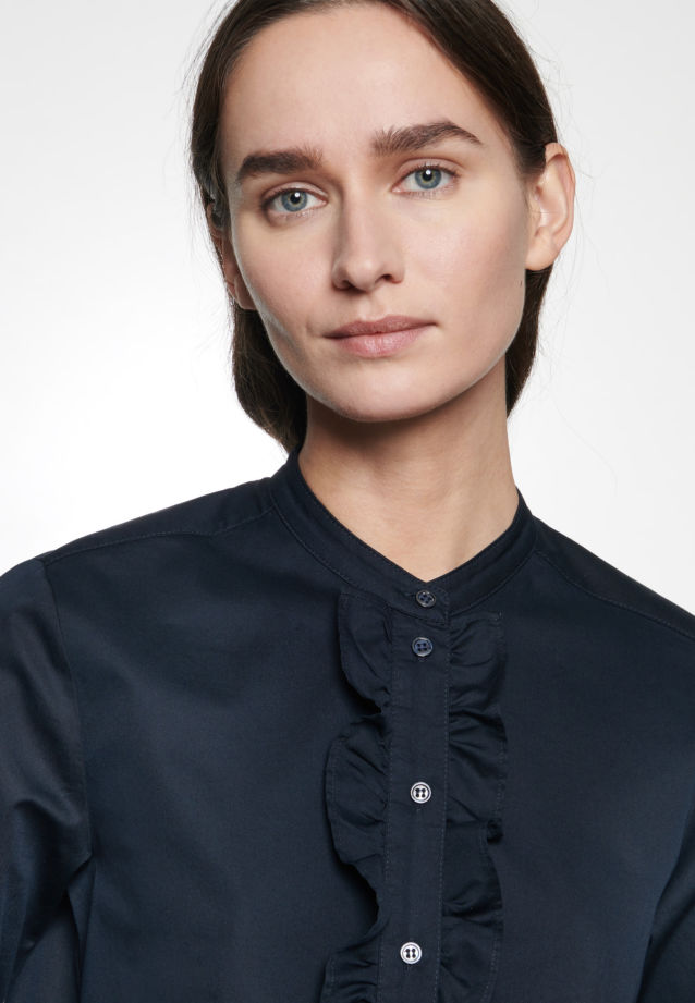 Twill Stand-Up Blouse made of 100% Cotton in Dark blue |  Seidensticker Onlineshop