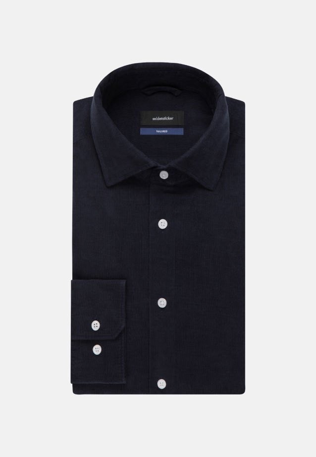 Easy-iron Corduroy Business Shirt in Tailored with Kent-Collar in Dark blue |  Seidensticker Onlineshop
