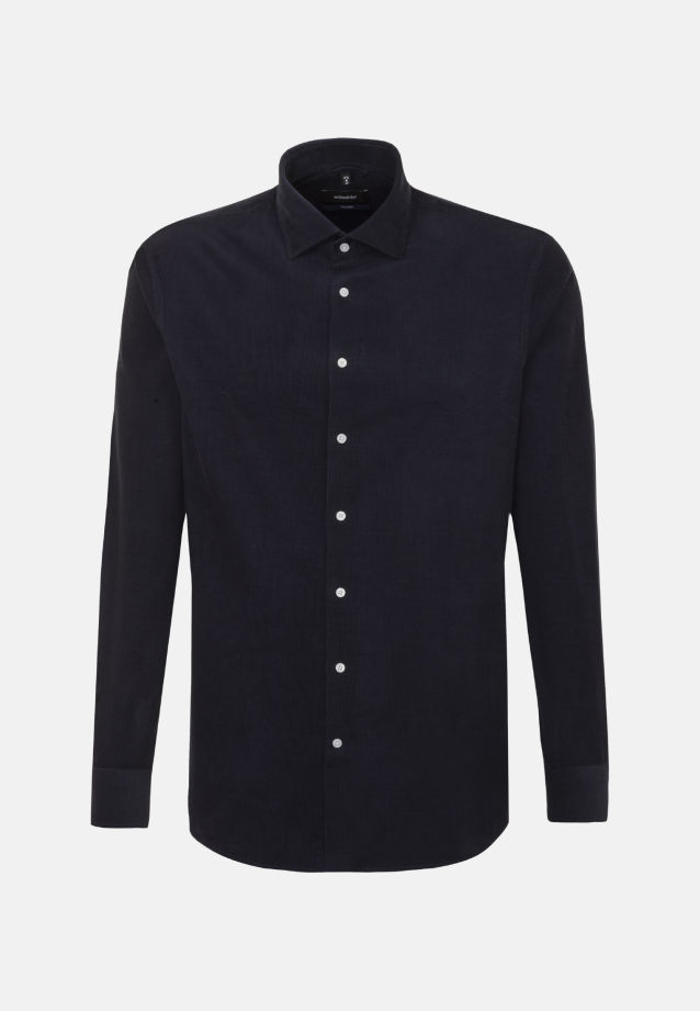 Easy-iron Corduroy Business Shirt in Shaped with Kent-Collar in Dark blue |  Seidensticker Onlineshop