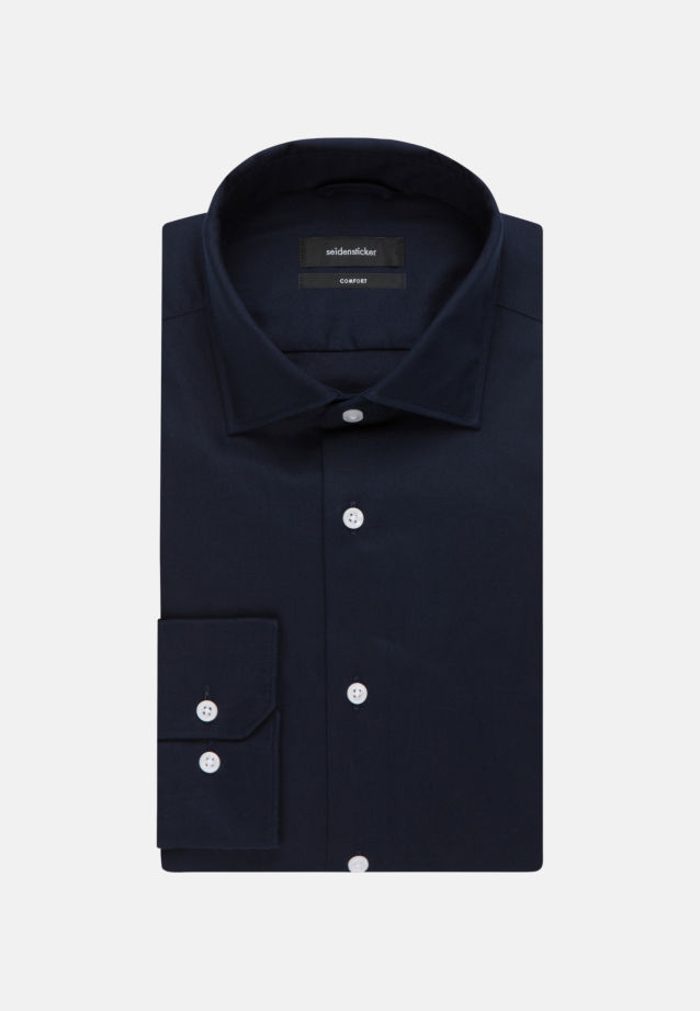 Easy-iron Twill Business Shirt in Comfort with Kent-Collar in Dark blue |  Seidensticker Onlineshop