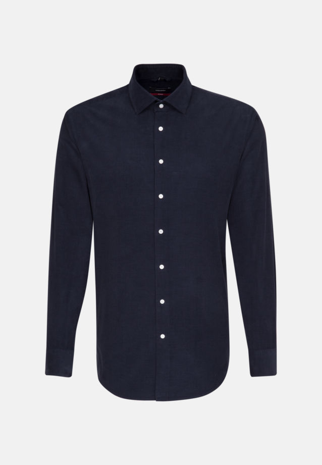 Easy-iron Corduroy Business Shirt in Modern with Kent-Collar in Dark blue |  Seidensticker Onlineshop