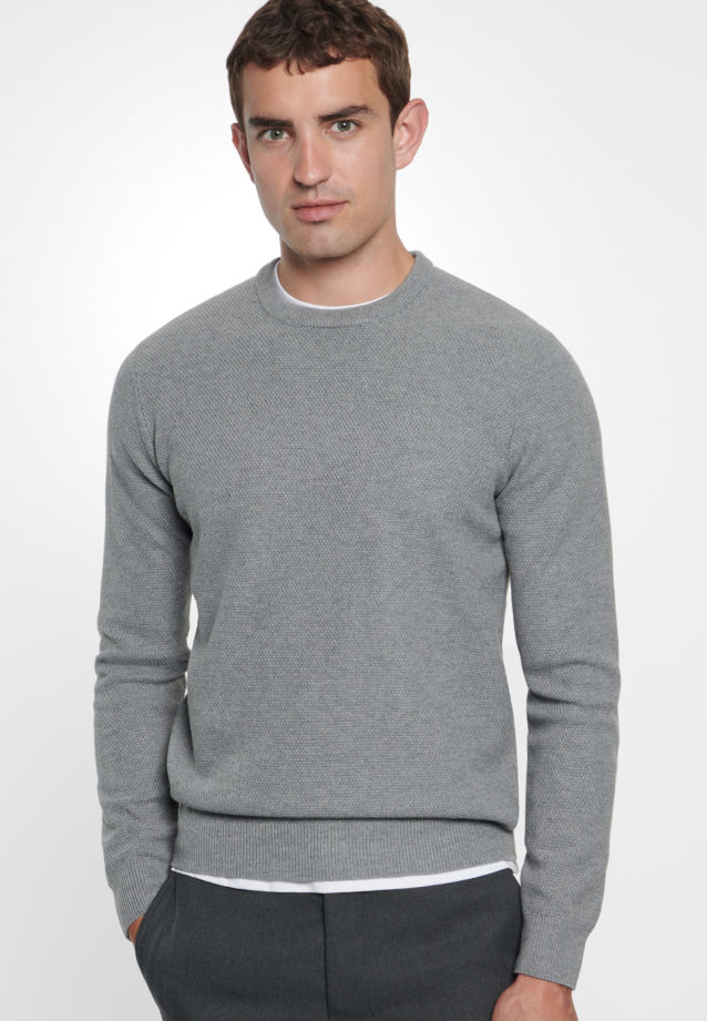 Crew Neck Pullover made of 47% Cotton 37% Polyacryl 16% Wolle in grey    Seidensticker Onlineshop