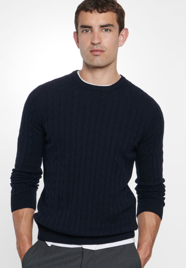 Crew Neck Pullover made of 60% Wolle 20% Polyacryl 20% Polyamid/Nylon in navy    Seidensticker Onlineshop