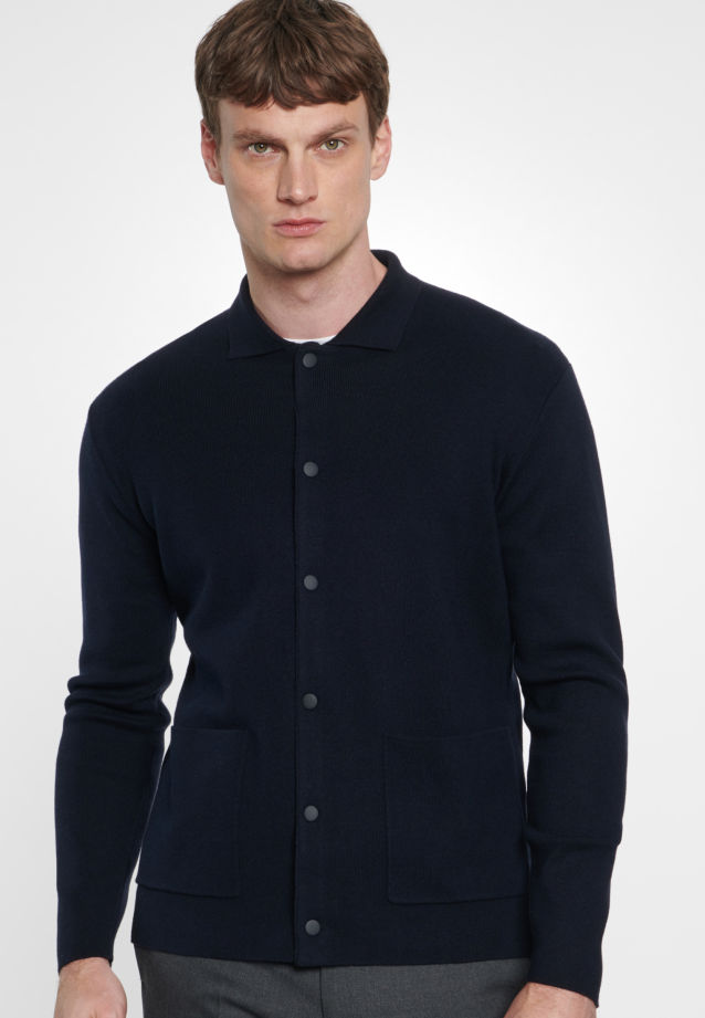 Collar Cardigan made of 47% Cotton 37% Polyacryl 16% Wolle in navy    Seidensticker Onlineshop