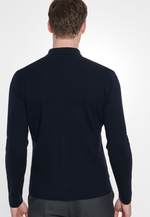 Collar Cardigan made of 47% Cotton 37% Polyacryl 16% Wolle in Dark blue |  Seidensticker Onlineshop