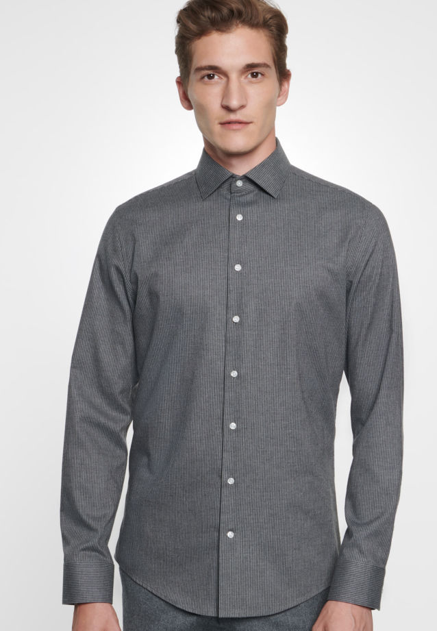 Easy-iron Twill Business Shirt in Slim with Kent-Collar in Grey |  Seidensticker Onlineshop