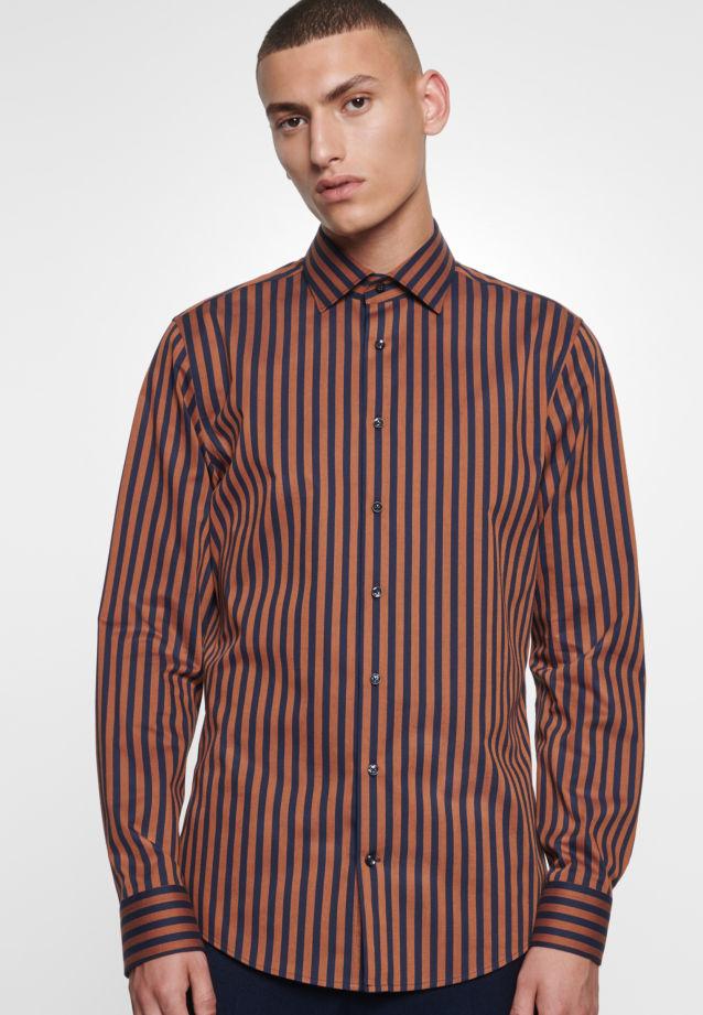 Bügelleichtes Twill Business Hemd in Slim mit Kentkragen in Orange    Seidensticker Onlineshop