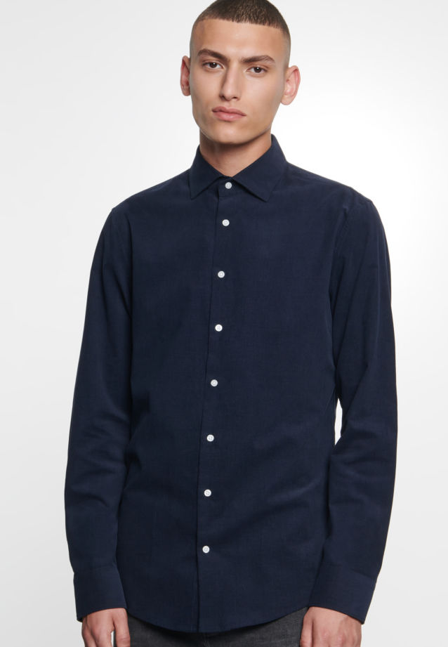 Easy-iron Corduroy Business Shirt in Slim with Kent-Collar in Dark blue |  Seidensticker Onlineshop
