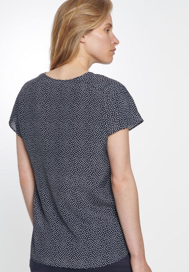 Kurzarm Voile Shirtbluse aus 100% Viskose in marine-weiß    Seidensticker Onlineshop