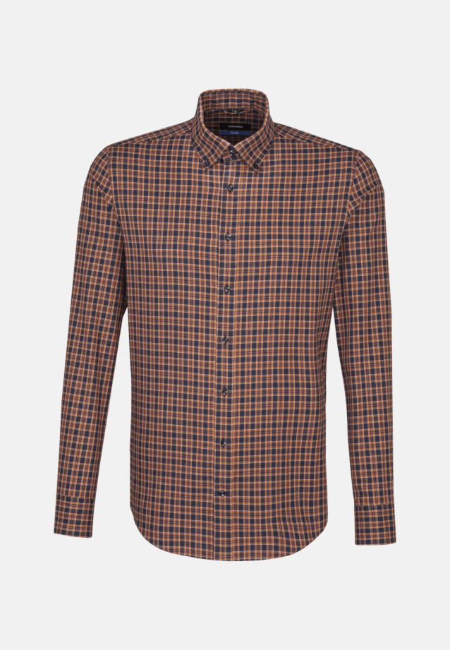 Bügelleichtes Twill Business Hemd in Shaped mit Button-Down-Kragen in Orange |  Seidensticker Onlineshop