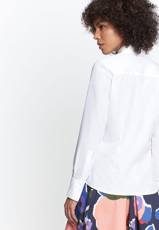 Non-iron Fil a fil Shirt Blouse made of 100% Cotton in weiß |  Seidensticker Onlineshop