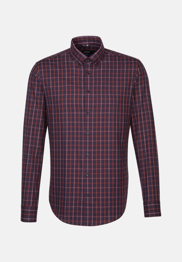 Bügelleichtes Twill Business Hemd in Tailored mit Button-Down-Kragen in Rot |  Seidensticker Onlineshop