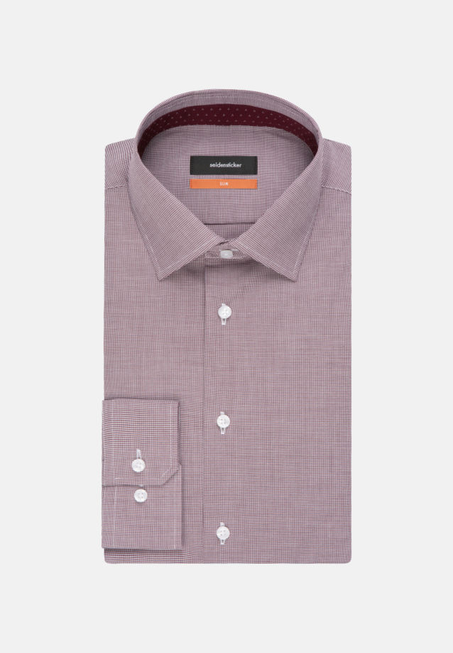 Non-iron Pepita/tooth-peg check Business Shirt in Slim with Kent-Collar in Red |  Seidensticker Onlineshop