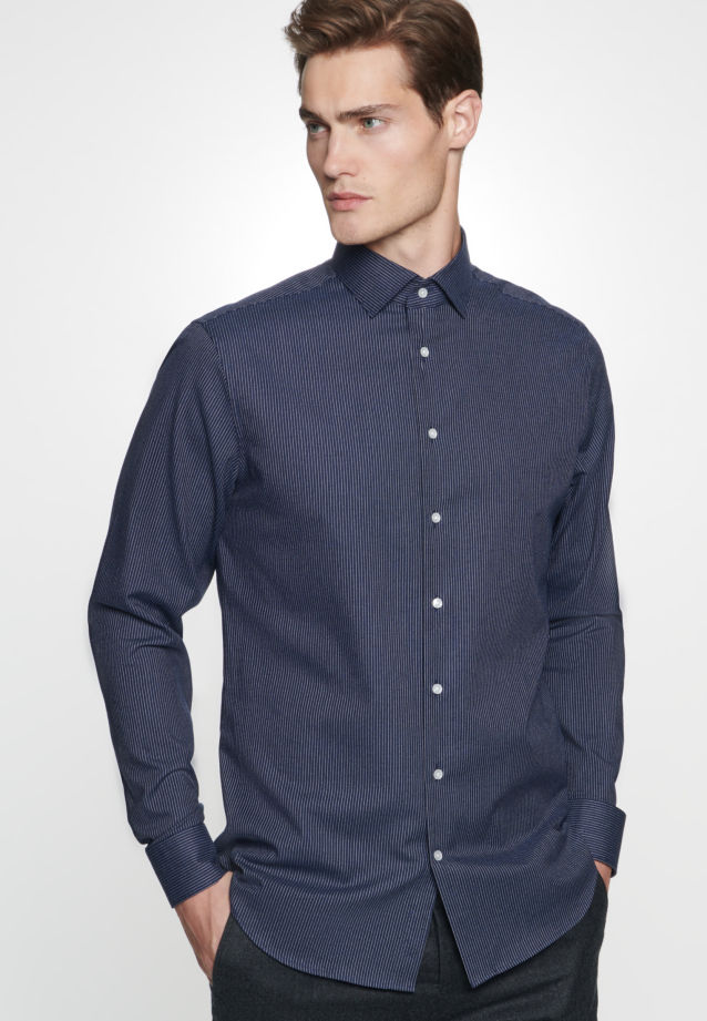 Easy-iron Twill Business Shirt in Tailored with Kent-Collar in dunkelblau |  Seidensticker Onlineshop